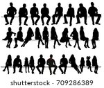 silhouette of sitting people ... | Shutterstock . vector #709286389