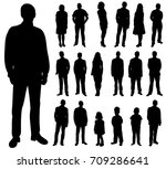 set of silhouettes of people ... | Shutterstock . vector #709286641