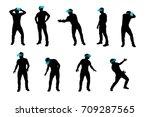 vr man silhouette set  | Shutterstock .eps vector #709287565