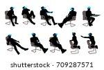 vr sitting man set | Shutterstock .eps vector #709287571