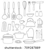 kitchenware collection. black... | Shutterstock .eps vector #709287889