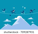 business people running over... | Shutterstock .eps vector #709287931