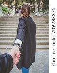 couple holding hand  girl... | Shutterstock . vector #709288375