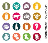 dairy products icons | Shutterstock .eps vector #709290934
