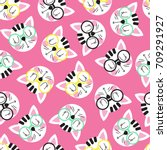 Stock vector seamless pattern with cute cat head in glasses on a pink background seamless background for 709291927
