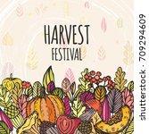 vintage harvest festival poster.... | Shutterstock .eps vector #709294609