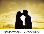 man and woman kissing. couple... | Shutterstock . vector #709294879