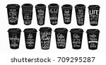 quote coffee cup typography... | Shutterstock .eps vector #709295287