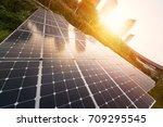solar panels city at china | Shutterstock . vector #709295545
