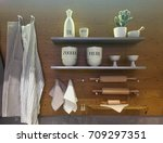 kitchen utensils on shelf and...   Shutterstock . vector #709297351