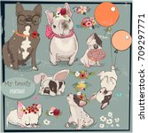 set with cute bulldogs family | Shutterstock .eps vector #709297771