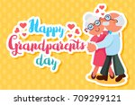 happy grandparents day greeting ... | Shutterstock .eps vector #709299121