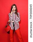 fashion portrait of beautiful... | Shutterstock . vector #709300045