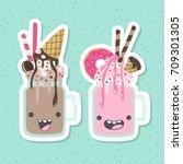 vector milkshakes cartoon... | Shutterstock .eps vector #709301305