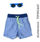 swimming trunks of boy and... | Shutterstock . vector #709301665
