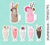 crazy milkshakes set. set of... | Shutterstock .eps vector #709301791