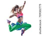 one caucasian woman cardio... | Shutterstock . vector #709302775
