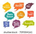 hand drawn handwritten autumn... | Shutterstock .eps vector #709304161
