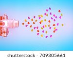 Small photo of creative idea, thought, creation pictures, creation ideas, camera, hearts, love of art, conceptual