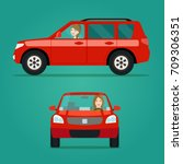 red car two angle set. car with ... | Shutterstock .eps vector #709306351