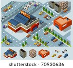 mall and grocery center. set of ... | Shutterstock .eps vector #70930636