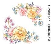 set of vintage floral bouquets... | Shutterstock .eps vector #709308241
