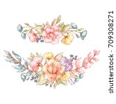 set of vintage floral bouquets... | Shutterstock .eps vector #709308271