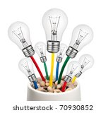 Alternative New Ideas - Lightbulbs with Cables Growing in a Pot Isolated on White Background - stock photo