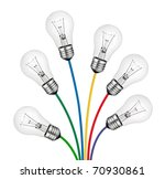 Bouquet of Lighbulbs attached to multi colored cables isolated on white background. New Bright Ideas - stock photo