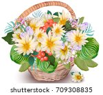 realistic floral chamomile...   Shutterstock .eps vector #709308835