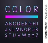 colorful font neon with... | Shutterstock .eps vector #709310911