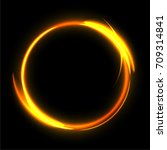 fire circle on black background....   Shutterstock .eps vector #709314841