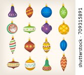 set of colorful christmas... | Shutterstock .eps vector #709315891