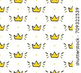 doodle crowns and dots seamless ... | Shutterstock .eps vector #709322539