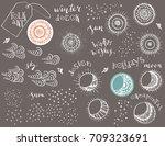 hand drawn folk art sun  moon ... | Shutterstock .eps vector #709323691