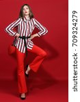 fashion portrait of beautiful... | Shutterstock . vector #709324279