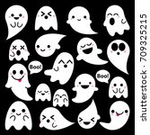 cute vector ghosts icons on... | Shutterstock .eps vector #709325215