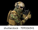 us marine corps soldier on... | Shutterstock . vector #709326541