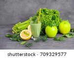 glass of green healthy juice... | Shutterstock . vector #709329577