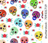 day of the dead holiday in... | Shutterstock .eps vector #709331719