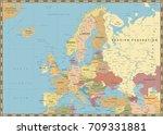 europe political map. vintage... | Shutterstock .eps vector #709331881