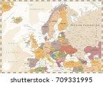 europe political map. retro... | Shutterstock .eps vector #709331995
