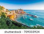 Vernazza village within Cinque Terre in Liguria Region, Northern Italy. - stock photo