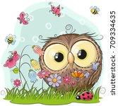 Cute Cartoon Owl On A Meadow...