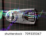 financial data on a monitor as... | Shutterstock . vector #709335367
