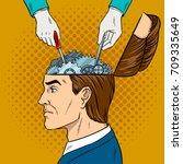 hands repairs gears in head pop ... | Shutterstock .eps vector #709335649