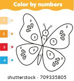 coloring page with butterfly.... | Shutterstock .eps vector #709335805