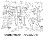 childrens playground coloring.... | Shutterstock .eps vector #709337041