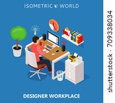 colored 3d isometric freelance... | Shutterstock .eps vector #709338034