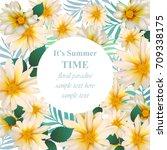 chamomile flower card vector....   Shutterstock .eps vector #709338175